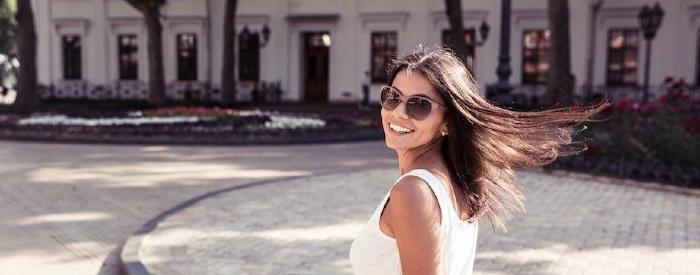 Girl in Italy smiling
